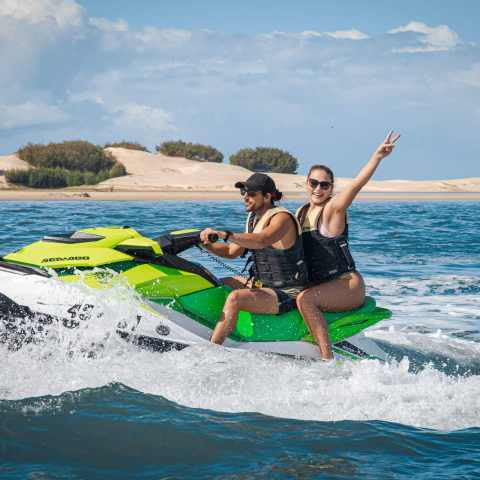 1.5 Hour Jet Ski Safari with extended stopover at South Stradbroke Island with Photo Package